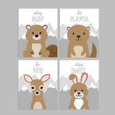 Set of 4 Woodland Animal Nursery Art Prints, Deer Nursery, Beaver, Otter, Bunny, Be Kind, Stay Sweet, Be Playful, Stay Busy Deer Nursery, Woodland Animal Nursery, Forest Nursery, Woodland Nursery Decor, Nursery Neutral, Woodland Animals, Nursery Art, Nursery Ideas, Nursery Quotes