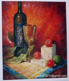 China Still life oil painting-wine bottle, glass and fruits supplier