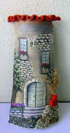 Decore sua casa com telhas customizadas, é fácil de fazer. Rock Crafts, Diy And Crafts, Clay Fairy House, Clay Fairies, House On The Rock, Ceramic Houses, Tole Painting, Bottle Art, Stone Art