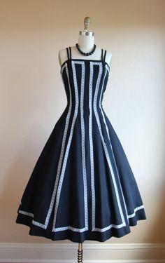 Vintage 50s Dress Black White Linen