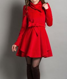 Stunning - Autumn/Winter Coat Cashmere Red Jacket Long by dresstore2000