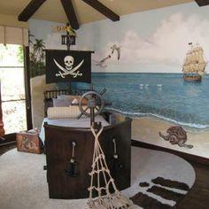 kinderbett-selber-bauen-pirat- interessante wandgestaltung - Piraten Kinderbett macht so viel Spaß!