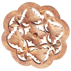 Bulk Wholesale Handmade Mango Wood Wavy-Shaped Trivet with Intricate Floral Carving – Traditional Look Accessories for Kitchen / DiningTable