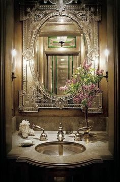 That Inspire, via Flickr. Venetian mirror in powder room http://roomdecorideas.eu/living-rooms/room-decor-ideas-top-10-mirror-design-for-living-room/