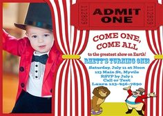 Birthday Invitation • Circus Theme • Free economy shipping • Fast turnaround time • Great customer service • These birthday invitations are custom, high resolution digital files that are personalized for each customer upon order