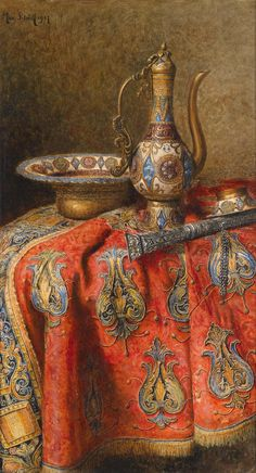 Max Schödl (1834-1921) — Still Life with Oriental Antiques, 1907 (2610×4831)