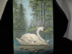 swan and babies - pbn