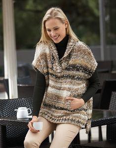 Knit Vest Pattern, Sweater Knitting Patterns, Hand Knitting, Crochet Poncho, Crochet Stitches, Maxi Cardigan, Knitting Accessories, Diy Dress, Crochet Fashion
