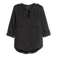 Black v neck blouse NWT Black v neck blouse with buttons for rolling up the sleeves. Can be worn for work attire or casual affairs. First and third photo taken from H&M website. H&M Tops Blouses