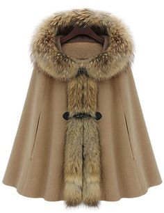 Camel Fur Hooded Loose Woolen Cape 77.25