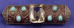 Art Deco Citrine, Matte Enamel and Turquoise Bar Pin, Theodor Fahrner