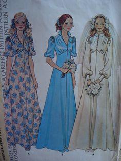 1970s EMPIRE BRIDAL DRESS WEDDING GOWN PATTERN McCALLS 4207