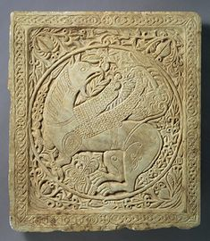 This panel was made during the 12th century and contains a design of a griffin.  The griffin held great importance in the Byzantine Empire.  It was said that these mythical creatures were considered protectors in the afterlife.  This piece is currently located at The Metropolitan Museum of Art in New York, New York.