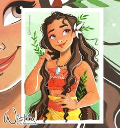 Today, I offer you some sun with this lovely watercolor of Moana 🌸 Moana Disney, Disney Pixar, Disney Nerd, Disney And Dreamworks, Disney Characters, Disney Princesses, Punk Disney, Disney Facts, Disney Movies