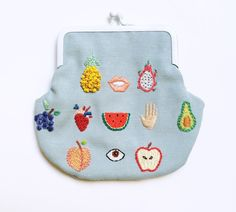 Hand embroidered ' Healthy Fruits ' Purse by por BaobapHandmade