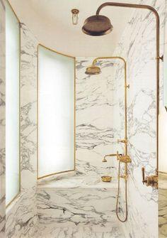 Etonnant Marble Shower Brass Fixtures