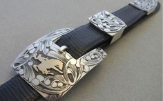 Wyoming cowboy sterling and gold buckle set.
