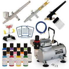 Airbrush Food Cake Decorating Design Kit 12 Color Supplies Set Air Compressor