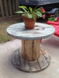 3 ft Cable Reel Table. $100.00, via Etsy.