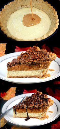 Three Pies in One! Cheesecake Pumpkin Pecan Pie! #thanksgiving #harvest #happythanksgiving #happyharvest #turkey #holidayplanning #thanksgivingrecipes #thanksgivingdecor #thanksgivingcrafts #thanksgivingideas #planningfortheholidays http://www.gmichaelsalon.com