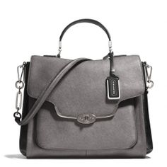 The Madison Sadie Flap Satchel In Spectator Saffiano Leather from Coach
