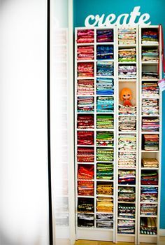 cd shelves as fabric organizer - great idea now that discs are obsolete :)