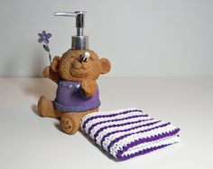 Purple and White Striped Washcloth/ Dishcloth by CustomBearHugs #StripedWashcloth #HandKnitDishcloth