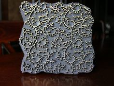 Handmade Antique Indian Brass Metal & Pear Wood Block Stamp- Rare, OOAK Large Abstract  Pattern