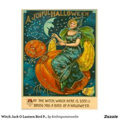 Witch Jack O Lantern Bird Pumpkin Crescent Moon St Postcard