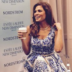 Eva Mendes wore a House of Lavande Vintage necklace to her Estee Lauder New Dimension launch at Nordstrom Aventura Mall in Miami
