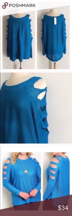 "FINAL💲Cut out sweater Blue cold shoulder sweater. 100% acrylic. Extremely soft with great stretch! Great oversized look for fall and winter.  XL: L 28"" • B 50"" Availability: XL• 1 ⭐️This item is brand new with tags Price is firm unless bundled ✅Bundle offers Sweaters"
