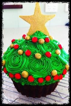 Christmas themed giant cupcake