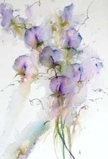 Violet Sweet Peas - Floral Study in Watercolour by Jean Haines