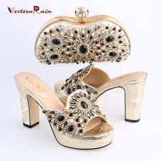 2017 New Night Club Rhinestone Crystal Light Gold Plated Shoes And With Chain Bag Set