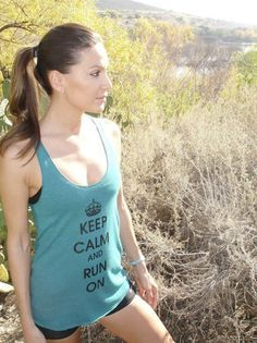 Keep Calm and Run On Racerback Running Tank  by RunnersBootyonEtsy, $22.00.  I WANT THIS!!