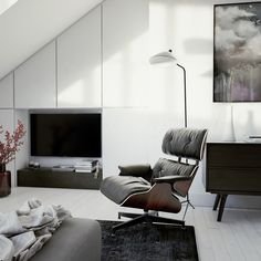 Black and white living room in a loft apartment