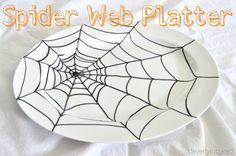 sharpie spider web platter diy @cleverlyinspired