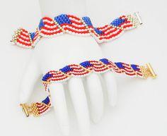 American Flag Bracelet by AnneGregoryJewelry on Etsy