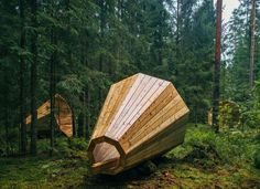 Gigantic wooden megaphones amplify the sounds of the forest in...