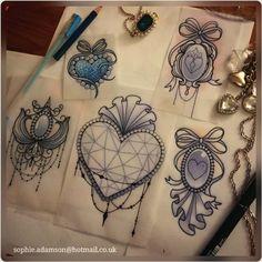 hearts and lace tattoo Gem Tattoo, Jewel Tattoo, Tattoo Motive, Lace Tattoo, Tattoo Black, Tattoo Ink, Design Tattoo, Tattoo Designs, Tattoo Sketches