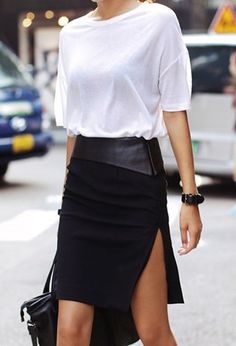 We love this high slit skirt with polyurethane at top waist, keep the feminine look with a simple tee and heels, you can pick Black or Fall key color -Wine