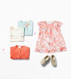 Zara Baby Girls Bird Print Dress with Cardigan