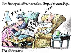Super Tuesday voting, Dave Granlund,Politicalcartoons.com,voters, caucus, primary, primaries, caucuses, interest, ballots, choices, right to vote, involved, uninvolved,
