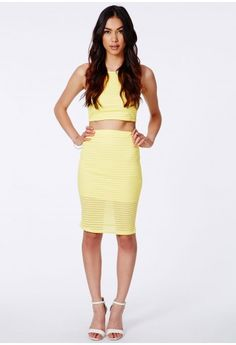 Missguided - Janaki Burnout Ribbed Midi Skirt Lemon