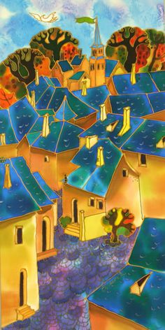 Little Village in France by Yelena Sidorova, 12″X24″X1.5 (Cityscape Series-LTE1401)