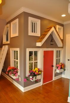 Indoor playhouse in basement. (for the kids' playroom in the loft! Arizona hot summers and scorpions suck for outdoor play structures. Awesome Bedrooms, Cool Rooms, Awesome Beds, Cool Bedroom Ideas, Totally Awesome, Build A Playhouse, Playhouse Ideas, Inside Playhouse, Kids Indoor Playhouse