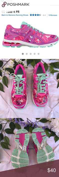 Asícs Pink Rose Print breast cancer running shoes Asics breast cancer Gt-1000 running shoes. Only worn once there are no signs to wear other than the logo inside the shoe has been partially worn off. The shoe consist of pink roses print with a pink ribbon sewn on the side of the shoe. Great running shoes are in perfect condition.💓 Asics Shoes Sneakers