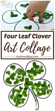 Here's a fun & engaging Saint Patrick's Day craft for your kids! It's time to make a four leaf clover! This collage & nature craft is perfect for children of all ages! Easy Art Projects, Craft Projects For Kids, Crafts For Kids To Make, Art For Kids, Kids Crafts, Art Crafts, Quick And Easy Crafts, Easy Arts And Crafts, St Patrick's Day Crafts