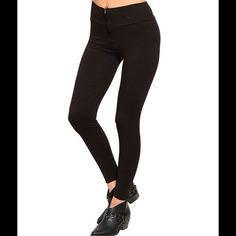 "5 ⭐️ Rated brown leggings  This comfy fit ladies leggings features a slim stretch fit with wide high-waist elasticized band and exposed zip front closure.  Fabric Content: 65% POLYESTER 35% COTTON. Description: W: 14"" L: 36"". Dark brown color almost looks black. Have 10 available. Please let me know and I will create a listing for you.  D2.  Make an offer  Pants Leggings"