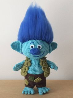 *************************************************************************** This listing is for a PDF PATTERN (English) and not the finished troll. ***************************************************************************  Crochet your very own Branch from the movie Trolls. This pattern includes instructions on how to crochet Branch, his pants and his very cool vest of leaves.  When made with the Worsted Weight yarn, this happy troll measures just about 45 cm including hair. If you would…